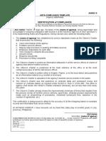 Annex 9. ARTA Compliance Template