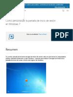 Cómo Personalizar La Pantalla de Inicio de Sesión en Windows 7