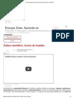Teoría de Bandas Para La Explicación Del Enlace Metálico _ Quimitube