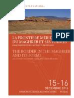 """Colloque international """"La frontière méridionale du Maghreb et ses formes"""