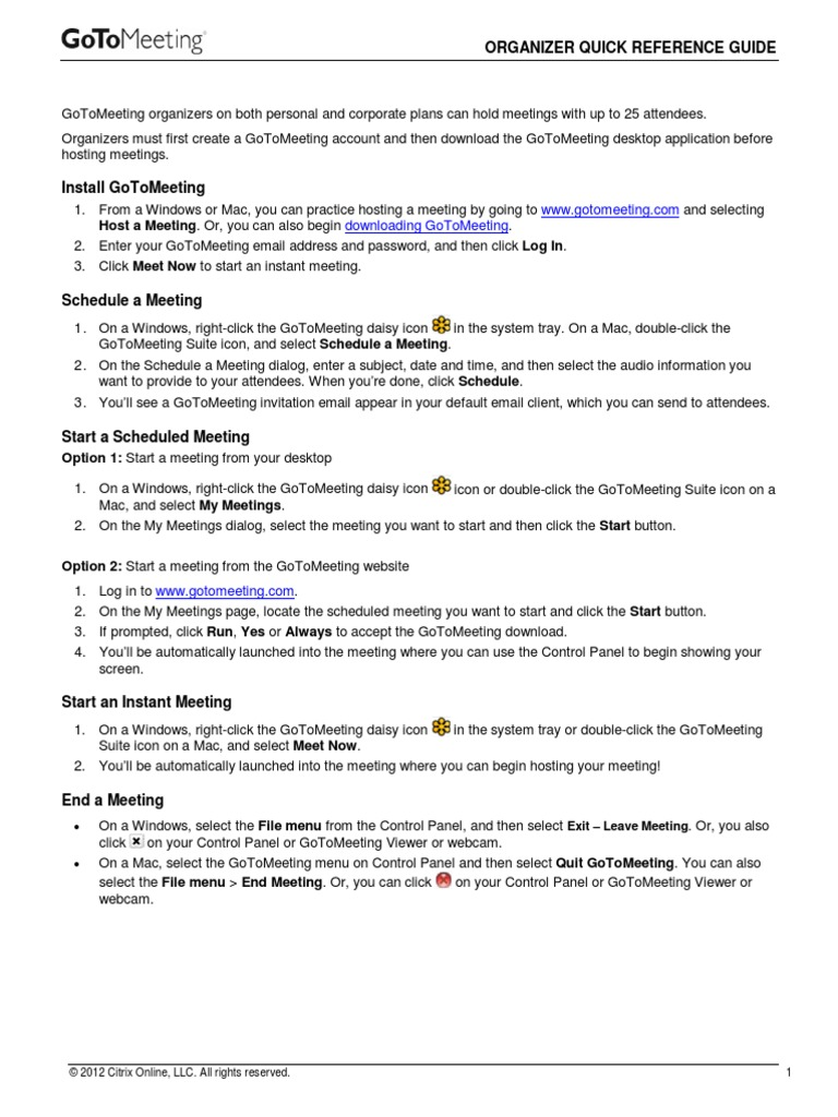 Gotomeeting Organizer Quickref Guide Web Conferencing Conference