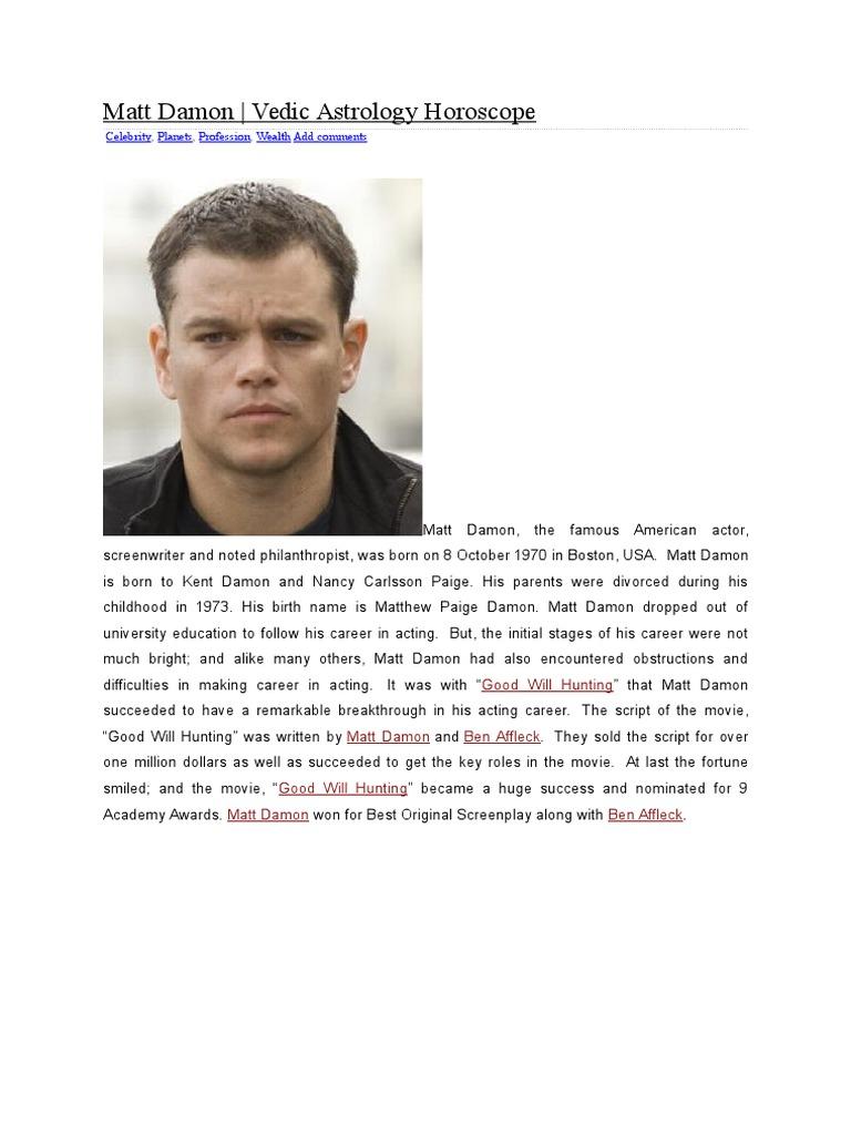 Matt Damon | Planets In Astrology | Technical Factors Of