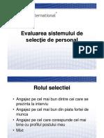 3 Evaluarea Sistemului de Selectie Validarea Acestuia (1)