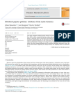 Dividend Payout Policies- Evidence From Latin America