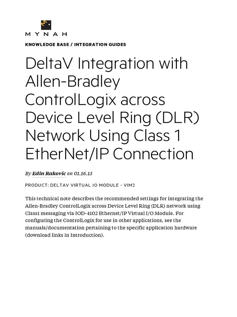 Control Logix With Delta V | Input/Output | Ip Address