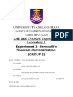 lab report Bernoulli Theorem Demonstration (full report)