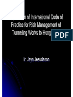 Application of International Code of Practice for Risk Management of Tunnel Works