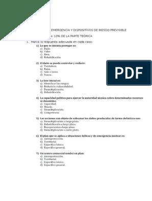 Examen Planes De Emergencia Y Dispositivos De Riesgo Previsible Correccion Riesgo Temblores