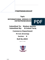 International Versus Domestic Entrepreneurship