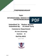 International Versus Domestic Entrepreneurship