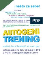 Autogeni Trening, Antistres Terapija, Duboko Opustanje, Porec, Pazin, Istra, Plakat