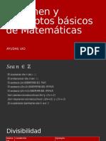 Resumen y Conceptos Básicos de Matemáticas