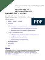 La Pedagogie Scolaire Et Les TIC