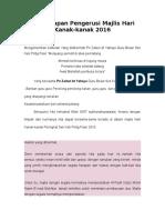 Teks Ucapan Pengerusi Majlis Hari Kanak 2016