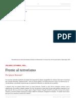 Ignacio Ramonet. Frente Al Terrorismo. El Dipló. Edición Nro 206. Agosto de 2016