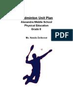 badminton unit plan - nat