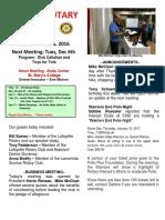 Moraga Rotary Newsletter for November 29, 2016