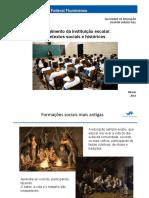 O surgimento da instituição escolar. Contextos sociais e históricos