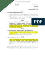 Syllabus of Disaster Management