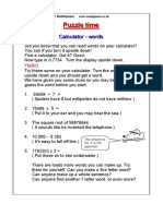 Maths Puzzle 08 Calculator Words