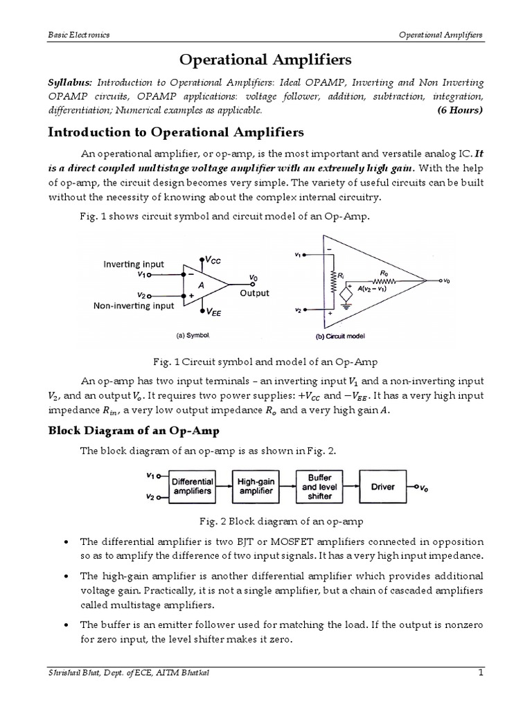 Basic Electronics Introduction To Operational Amplifiers The 741 Opamp Is A Common General Purpose Amplifier