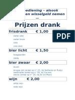 Prijzen Drank