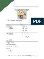 Assignment Unit 7 Trigonometry