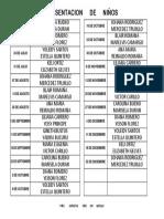 Listado Escuela Dominical 1