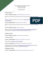 Economic Networks Reading List 2016