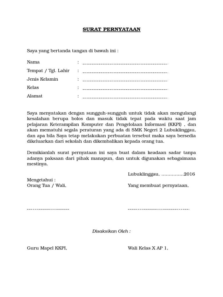 5 contoh surat pernyataan tidak melakukan pelanggaran siswa file word altavistaventures Gallery