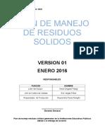 Plan de Manejo de Residuos Sólidos 2016