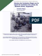 Cerámica Negra – Proceso de Elaboración. Informe a Cargo de Silvia Barrios