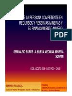 21.- El Rol de La Persona Competente en Recursos y Reservas Mineras y El Financiamiento Minero