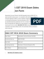 Mah Mca Cet 2016 Exam Dates