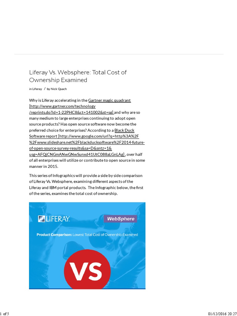 Liferay Vs  Websphere: Total Cost of Ownership Examined: in Liferay