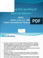 Ensuring quality of shariah advice