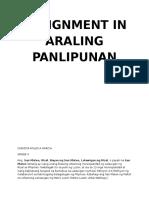 Assignment in Araling Panlipunan