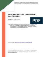 Leibson, Leonardo (2005). Alucinaciones en La Histeria y Las Psicosis