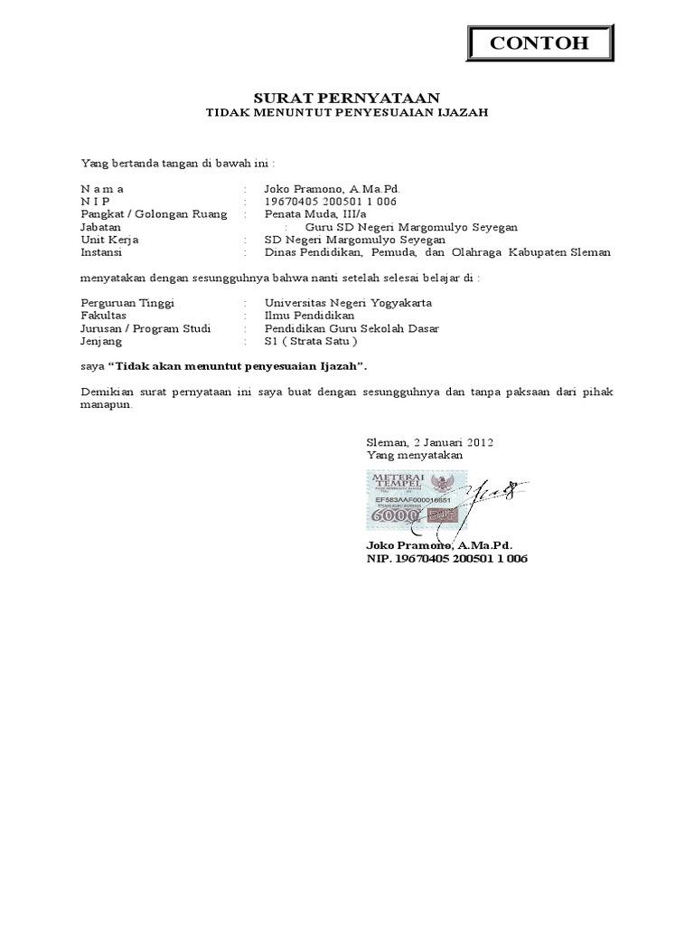 Contoh Surat Pernyataan Tidak Menuntut Penyesuaian Ijazah.doc