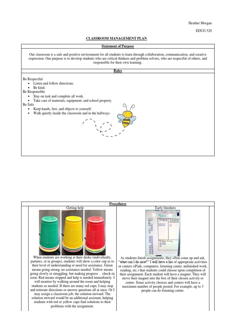 Classroom Management Plan | Classroom Management | Classroom