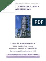 CURSO TERMODINÁMICA DE EQUILIBRIO EN ASPEN HYSYS