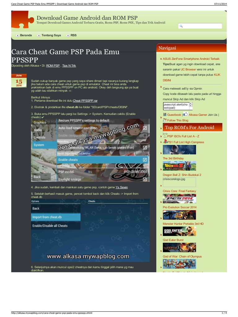 Cara Cheat Game PSP Pada Emu PPSSPP Download Game