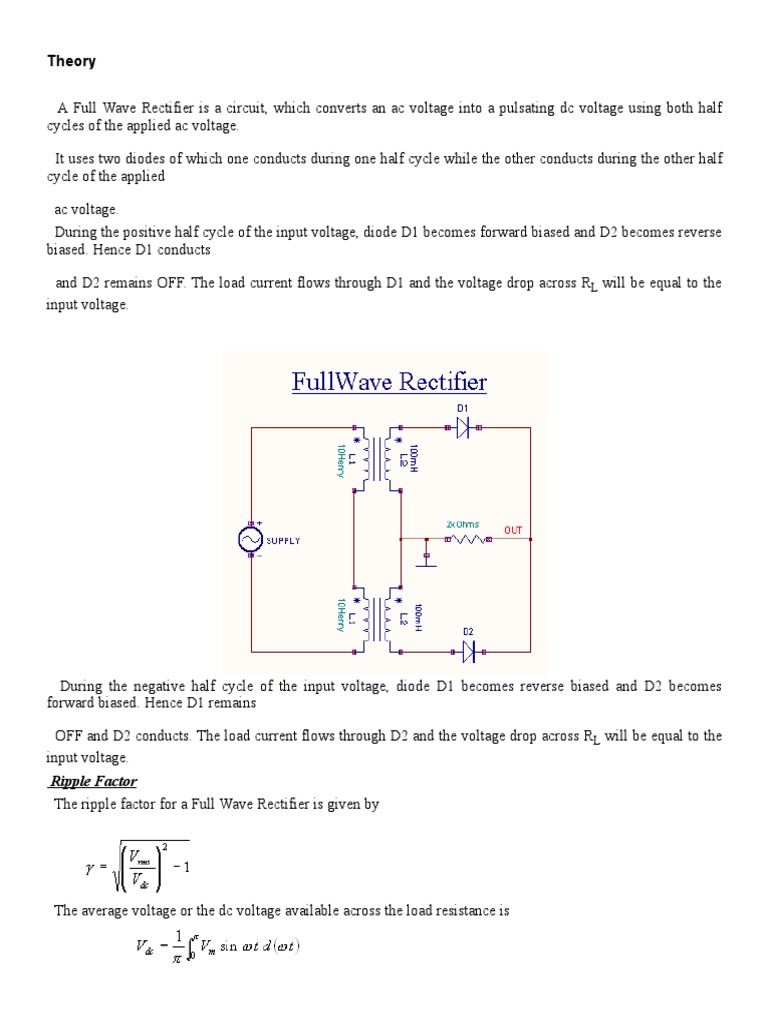 The Full Wave Rectifier And Averaging Filter Electronic