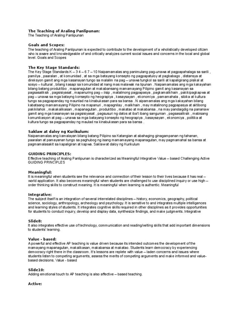 revisiting approaches and strategies in araling panlipunan essay