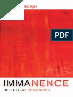 Miguel de Beistegui Immanence Deleuze and Philosophy