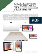 'xido z110, 10pulgadas tablet pc (10,6), pantalla ips android 5.1, 1366x 768, octa core, 1gb, 16gb de memoria, camara dual, computer wifi, tablet, hdmi, usb.pdf