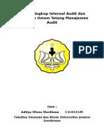 1.1Ruang Lingkup Internal Audit Dan Gambaran Umum Tetang Manajemen Audit ADITYA WISNU WARDHANA C1C013129