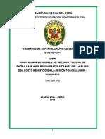 Monografia Hacia Un Nuevo Modelo de Servicio Policial de Patrullaje a Pie Remunerado a Través Del Análisis Del Costo Beneficio en La Región Policial Junín - Huancayo Ultimo