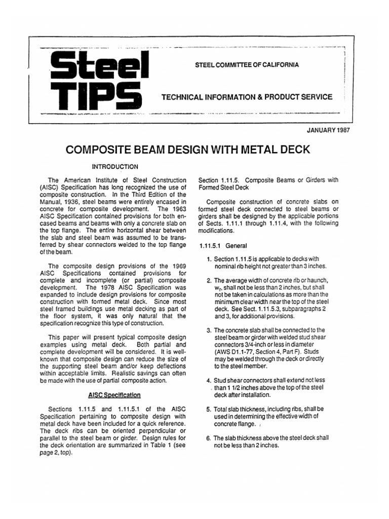Steel Tips - Composite Beam Design With Metal Deck pdf