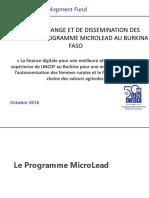 ATELIER D'ECHANGE ET DE DISSEMINATION DES RESULATS DU PROGRAMME MICROLEAD AU BURKINA FASO